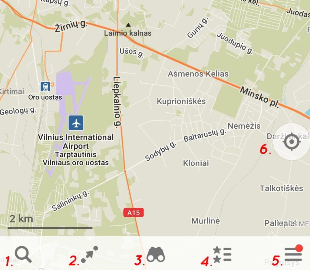 Maps.me apatinė juosta