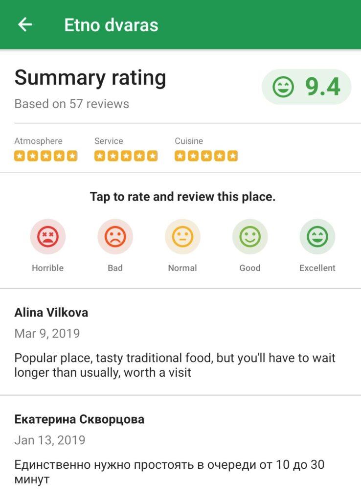 Atsiliepimai apie restoraną Maps.me programėlėje
