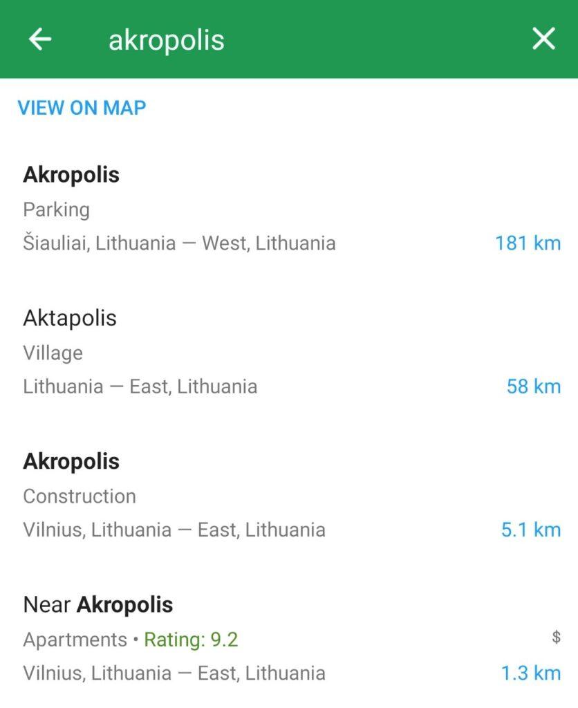 Maps.me paieškos rezultatai