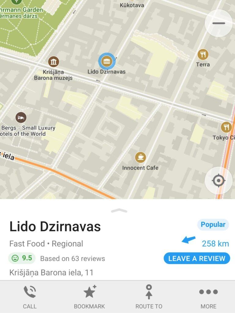 Maps.me pažymėta vieta